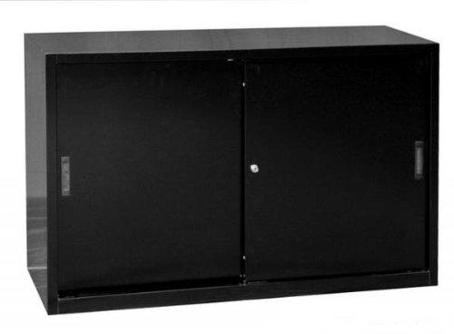 Schiebetürenschrank Schiebetüren Büro Aktenschrank Sideboard aus Stahl schwarz 750 x 1200 x 450 mm (Höhe x Breite x Tiefe) 550129