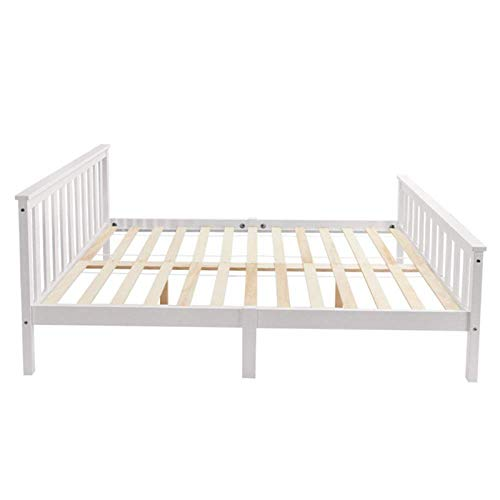 Monifuon Double Bed Wooden Frame 4FT6 Double Wooden Bed in White For Adults, Kids, Teenagers