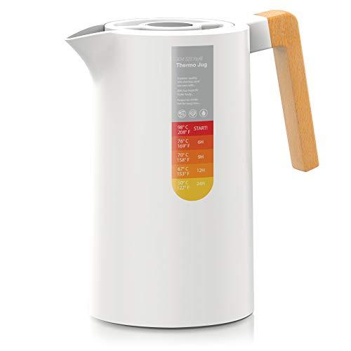 YUANJ Thermoskanne 1L, Stainless Steel 304, Vakuum Kaffeekanne mit Holzgriff, Edelstahl Doppelwandig Isolierkanne (Quick Press Verschluss, 12h heiß, 24h kalt) (Weiß)