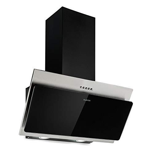 Klarstein Alessia Campana extractora - 60 cm, Capacidad 350 m³ / h, Iluminación LED, Salida de aire o aire en circulación, Mezcla de vidrio de acero inoxidable, Negro