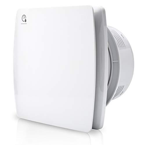 Latemeuk Badlüfter Ø150mm Abluftventilator mit Feuchtigkeitssensor und einstellbarer Nachlaufzeit, mit Timing, weiß Silent Ventilator Lüfter ffür effiziente Belüftung im Bad und Küche