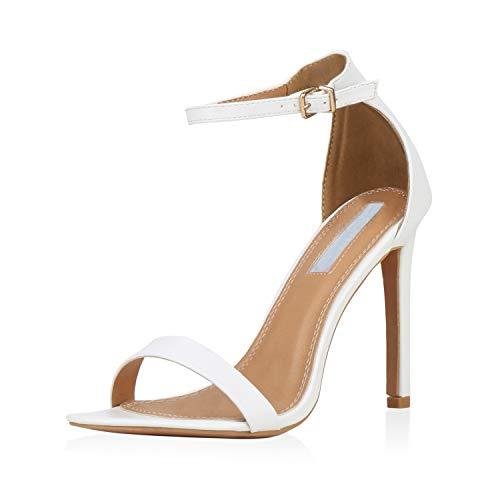 SCARPE VITA Damen Sandaletten High Heels Elegante Abendschuhe Basic Stilettos 157807 Weiss 40
