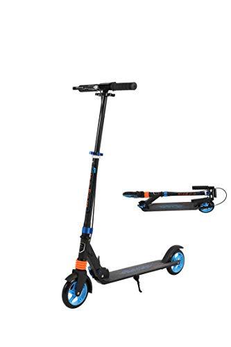 Clothink 145mm Wheel City Scooter Blau- Cityroller mit Federung klappbar und höhenverstellbar, Kickscooter für Erwachsene und Kinder