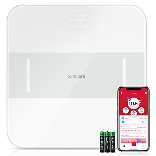 Sinocare Báscula de Baño Wireless Báscula Baño Digital Inteligente de Medición Precisacon Pantalla LED, Monitores de Peso Corporal Máximo 180kg para Andriod y iOS (Azul)