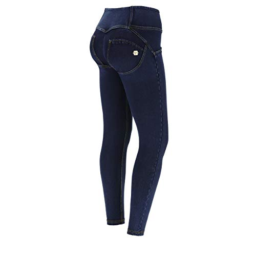 FREDDY Jeggings Push up WR.UP® 7/8 Superskinny Vita Media - Jeans Scuro-Cuciture Gialle - Large