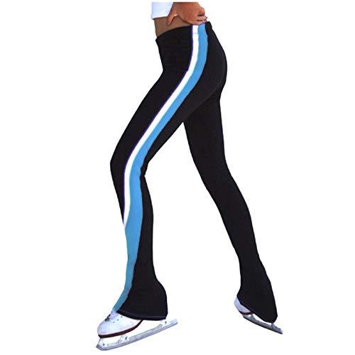 ZRSH Eiskunstlauf Hose Seite Streifen Ice Skate Hose Damen Thermo-Leggings Gefüttert Eiskunstlauf Hose mit Innen-Fleece Basic Blickdicht,001,L