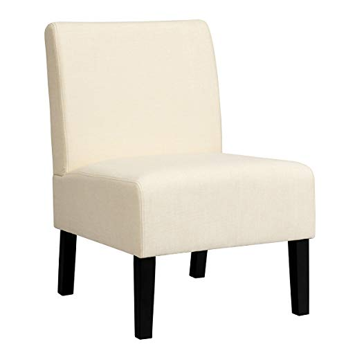 Giantex Armless Accent Chair, with Curved Backrest, Rubber Wood Legs, Soft Sponge, Comfortable Backrest, Upholstered Fabric Side Chairs, Living Room Chair (1, Beige)