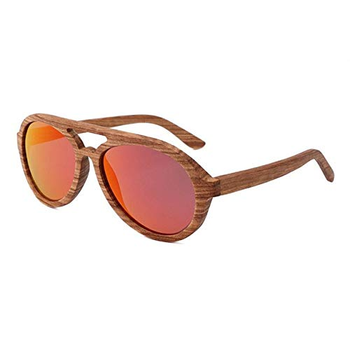 YUANCHENG Gafas de sol de madera artesanales retro para hombres y mujeres gafas de sol polarizadas Zebrano de alta calidad Gafas de playa de bambú rojo