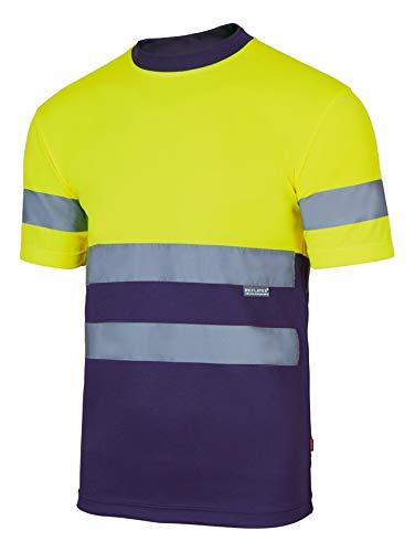 Velilla Camiseta Manga Corta Bicolor de Alta Visibilidad y Cintas Reflectantes. EN ISO 13688:2013 / EN ISO 20471:2013 + A1:2016. Unisex Marino + Amarillo A.V. XL