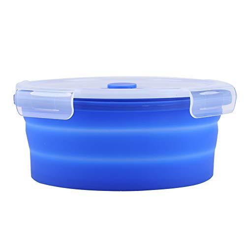 Fiambrera Bento-1200ml Caja Bento plegable de silicona redonda Fiambrera plegable Contenedor de alimentos para microondas(Azul)