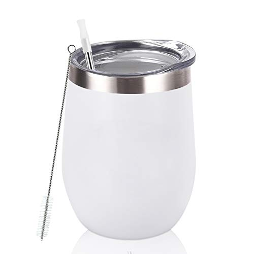 Stainless Steel Wine Tumbler 12Oz, Double Wall Vacuum Insulated Wine Tumbler with Lid and Straw, Stainless Steel Stemless Wine Glass for Wine, Coffee, Cocktails, Champaign, Ice Cream, White