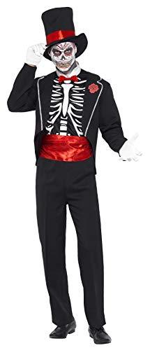 Smiffys Costume jour des morts, Noir, avec veste, faux devant de chemise, chapeau & gant