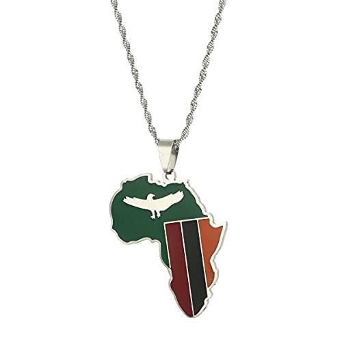 Kkoqmw Collares con Colgante de amuletos de Color Dorado con Bandera de Mapa de Zambia