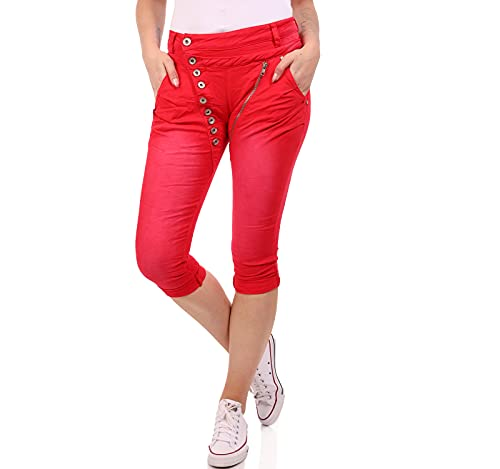 Crazy Age Boyfriend Baggy Jeans Capri Shorts Bermuda mit schräger Knopfleiste und Reißverschluß (Rot, M)
