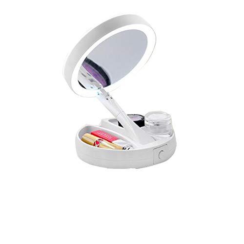 Bello Luna Faltbarer Schminkspiegel mit Licht, 10-fach Vergrößerungsspiegel und 360 ° -Rotationsspiegel für Zuhause, Büro, Tisch oder Reise
