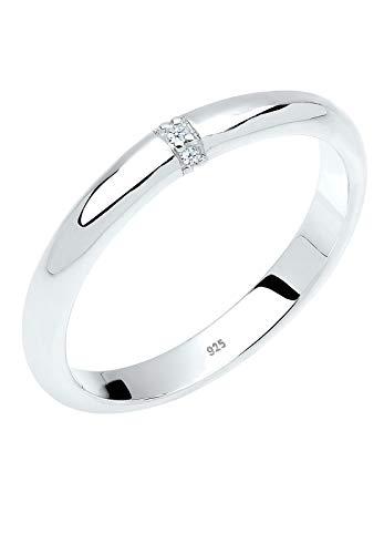 DIAMORE Ring Damen Klassisch mit Diamant (0.02 ct.) in 925 Sterling Silber