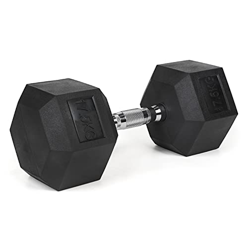 #DoYourFitness Hexagon-Hanteln 17,5 kg Kurzhantel - verchromte Griffe, gummierte & rutschsichere Dumbbells - Studio Hexbell schwarz - Stück