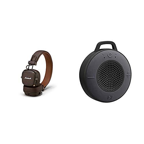 Marshall Major III Bluetooth Faltbar Kopfhörer - braun & Amazon Basics Kabelloser Dusch-Lautsprecher mit 5-W-Treiber, Saugnapf, eingebautem Mikrofon, Schwarz