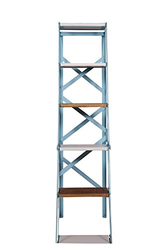 The Attic French Style Elder Ladder Shelf (Matt Finish, Blue, White and Natural)