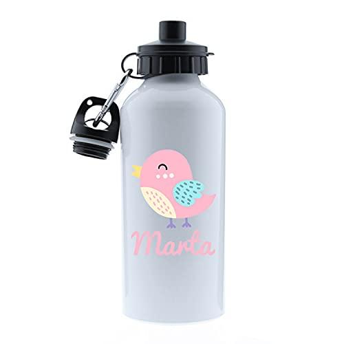 Kembilove Botella de Agua Niños Personalizada con Nombre – Cantimplora Infantil Acero Inoxidable – Regalos Infantiles Personalizados – Botellas Térmicas de 500 ml – Diseño Pájaro Rosa