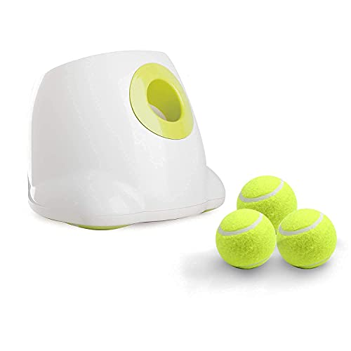 All for Paws Dog Automatic Ball Launcher for Small Dogs, Dog Tennis Ball Throwing Machine, 3 Balls Included