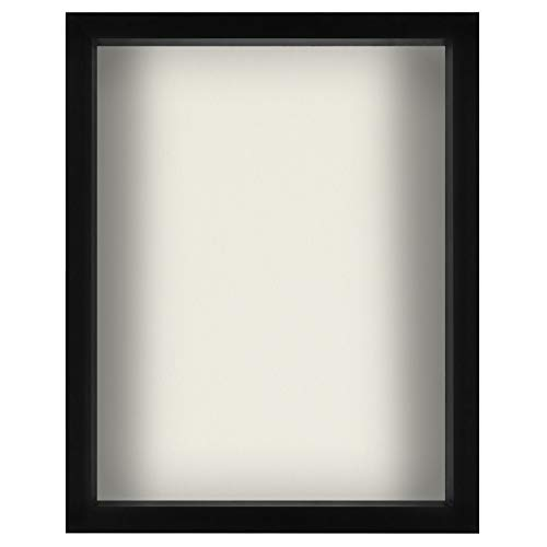 Americanflat Black Shadow Box Frame with Soft Linen Back | Displays Memorabilia and Photos up to 11x14 Inches. Shatter-Resistant Glass. Hanging Hardware Included!