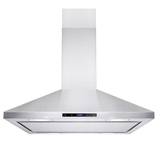"AKDY Island Mount Range Hood –36"" Stainless-Steel Hood Fan for Kitchen – 3-Speed Professional Quiet Motor – Premium Touch Control Panel – Minimalist Design – Mesh Filters & LED Lights"