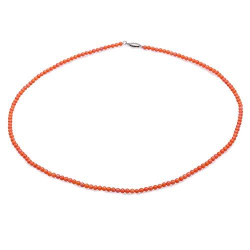JYX - Collana da donna in corallo con pietre preziose, 3,5 mm, lunghezza 45 cm, colore: Arancione