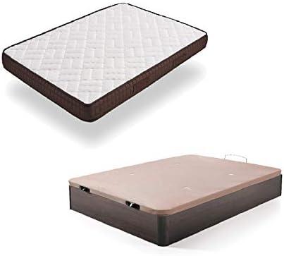 HOGAR24 ES Cama Completa - Colchón Viscobrown Reversible + Canape Abatible de Madera Color Cerezo, 105x190 cm