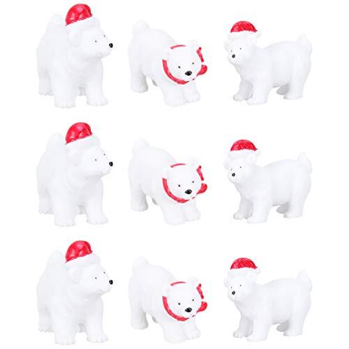 WINOMO 9Pcs Weihnachten Miniatur Eisbär Schmuck Figuren Harz Arktis Tierfigur Modell Tier Weihnachten Weihnachten Desktop Ornament für Kinder Kleinkinder