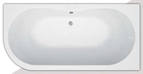 Badewanne Acryl eine Seite mit Rundung 190 x 90 Links, aus Acryl, Farbe weiß