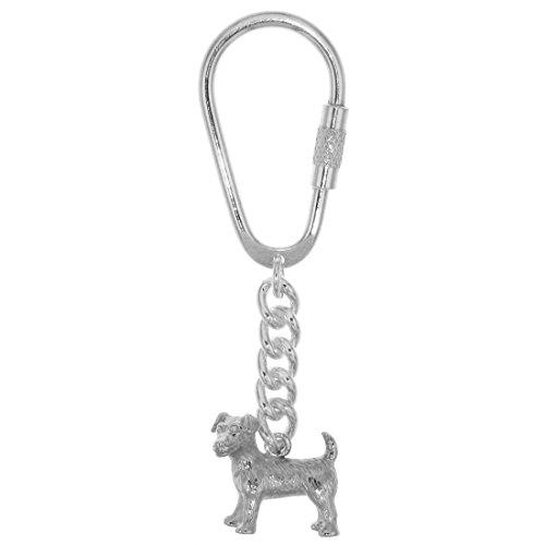 Derby Schlüsselanhänger Jack Russel-Terrier Hunderasse schwer komplett massiv echt Silber 29033