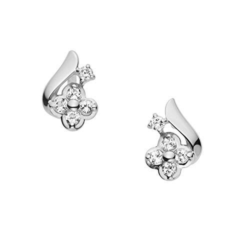 [VAヴァンドーム青山] VA VENDOME AOYAMA K10WG ホワイトトパーズ ダイヤモンド フラワーピアス GJBA0292 TH