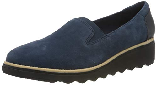 Clarks Damen Sharon Dolly Slipper, Navy Suede, 41.5 EU