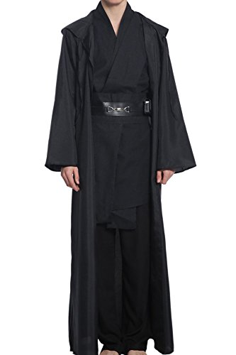 Cosplaysky Adult Outfit for Jedi Costume Tunic Hooded Robe Anakin Skywalker Uniform Black Version X-Large