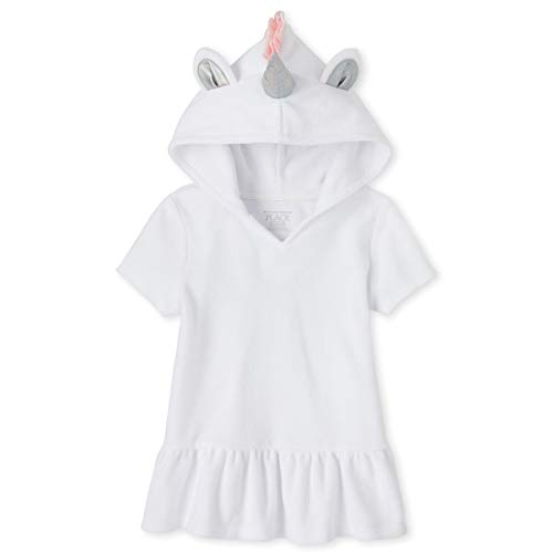 The Children's Place Girls' Unicorn Cover Up, White, 9-12MOS
