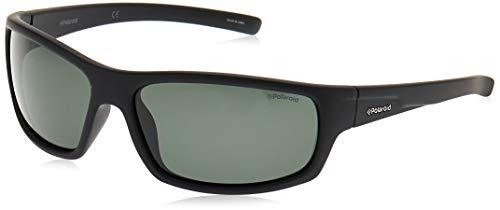 Polaroid P8411S - Gafas de sol rectangulares para hombre, 63 mm, Negro / Verde Polarizado