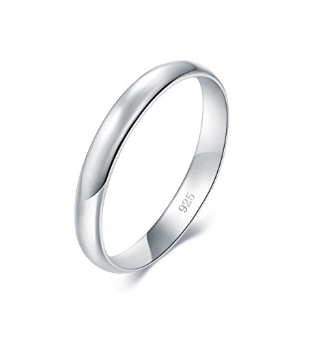 BORUO 925 Sterling Silver Ring High Polish Plain Dome Tarnish Resistant Comfort Fit Wedding Band 3mm - coolthings.us