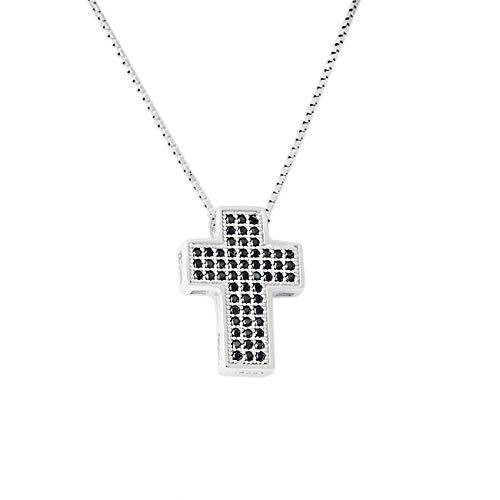 inSCINTILLE Collana Donna in Argento Rodiato 925 con Ciondolo a Croce e Brillantini di Zirconia Cubica