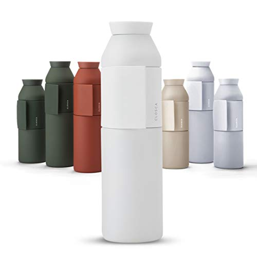 Closca Botella de Agua de Acero Inoxidable Bottle Wave. Cantimplora Termo Enganchable para niños y Adultos. Sin BPA. (White, 600ml)