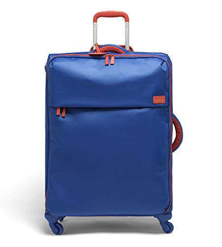 Lipault - Original Plume Spinner 72/26 Luggage - Large Suitcase Rolling Bag for Women - Electric Blue/Flash Coral