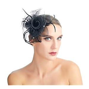 SACASUSA Flower Fascinator Crystals Mesh Gauze Cocktail Headwear Hair Clip Brooch Pin