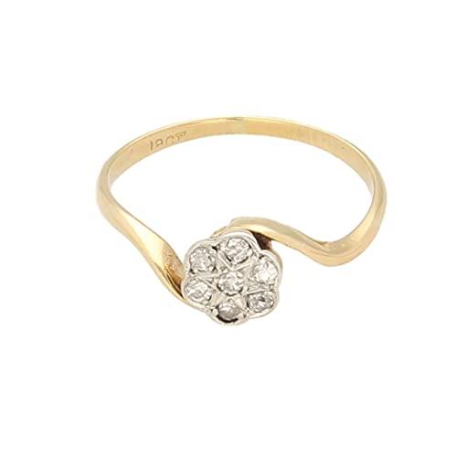 Anillo de oro amarillo de 18 quilates para mujer con diamante de 0,15 quilates (tamaño O) de 7 mm de diámetro, anillo de lujo para mujer