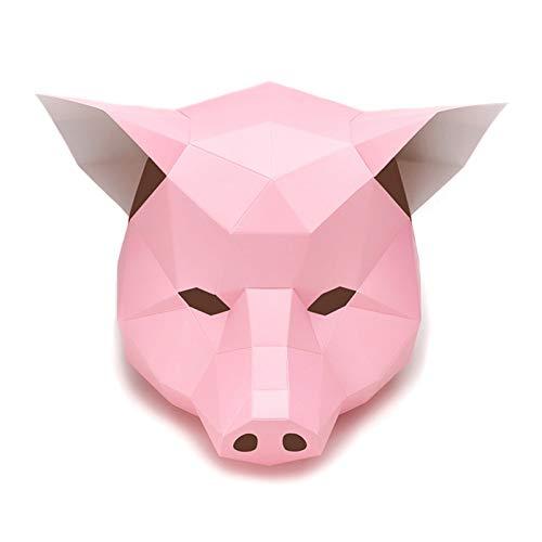 Decor 3D Papier Schwein Kopf Hut Kopfbedeckung Tier DIY Origami Papierkarte Modell Home Room Craft Party Cosplay Requisiten (Color : Pink)