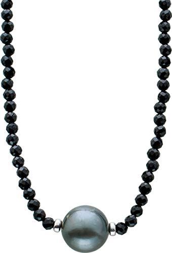ch.abramowicz facettierte schwarze spinell edelstein kette collier schwarze tahitiperle 10MM 38+7cm