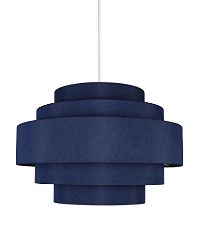Urbanest Palladio 5-Tier Shade Pendant with Hanging Light Kit, Navy Blue Silk, 18-inch Diameter, 12-inch Height -  REF-pendant-1104591