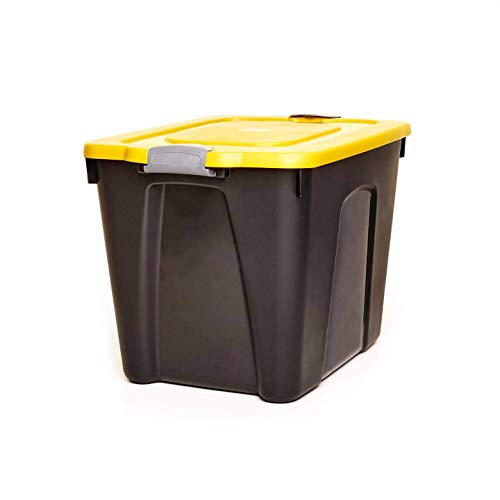 HOMZ 22 Gallon Durabilt LLDPE Container with Latches Heavy Duty Plastic Storage, Set of 4, Black and Yellow, 4 Sets