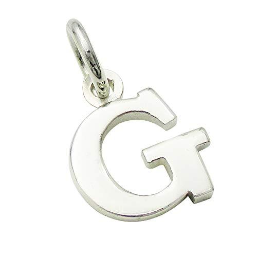 小さなアルファベットのチャーム (1) 「G」 ステンレスチェーンセット ゴシック体 ネックレス シルバー925 60cm