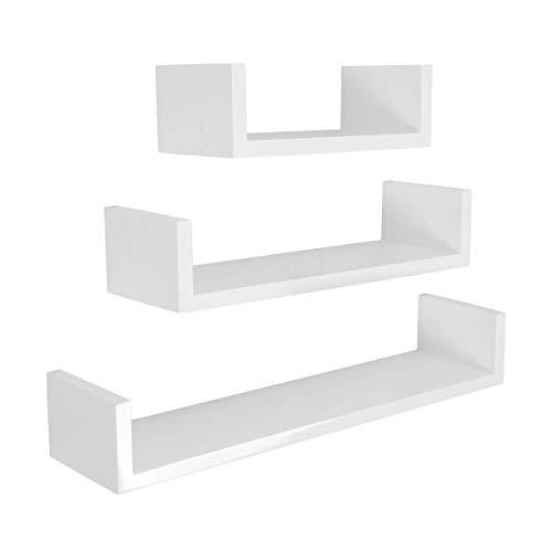 Meerveil Estantería de Pared Juego de 3 Estanterías para Pared Cubos Estante Mural Estantería Colgante en Forma de U Set de 3 Estantes Flotantes 60/45/30cm La Carga máxima 15kg Blanco