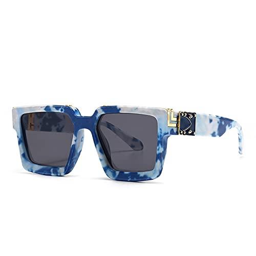 JIANCHEN Gafas de Sol Moda clásico de Lujo de Lujo diseñador de Soldado de Gran tamaño, Gafas de Sol, Hombres, Hombre, Escudo, granco, Marco, vidrios de Sol, Espejo, Espejo. (Color : 3)
